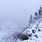  Bass Harbor Lighthouse - Snow Covered with Crashing Waves