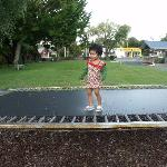 Toddler on trampoline