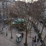 "View of Place des Abbesses from our ""Privilege"" room."