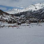  The village of Saas Fee from the beginners slopes