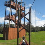 The first zipline's tower