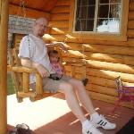 Son & G. Daughter on Cabin Porch