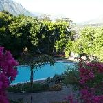swimming pool and gardens at lodge
