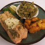 Delicious fresh salmon w/ dill butter
