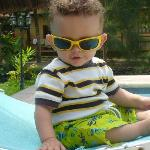 my son poolside