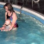 my mom and grace in the pool
