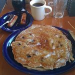 Scott and Sandy are having blueberry pancakes at Jeremiahs in Ogden Utah