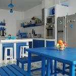 The Greek-styled kitchen.. think Mamma Mia, think Santorini