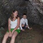 Ashley and Gar Gar in Maniniholo Dry cave across from Ha'ena state park.