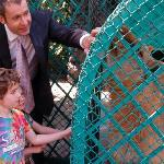 My kids petting the lions belonging to the concierge Alejandro, the nicest man in the world.