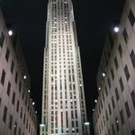 A view of Rockefeller Center at night, NYC