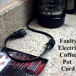 Faulty electrical coffee pot cord, on wet sink, ready to start a fire