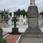 Graves in Glasnevin.  Eamon de Valera's grave is the white cross in the center.