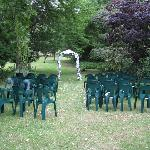 Lawn with wedding ceremony area