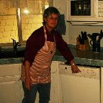  Lucinda&#39;s wearing an apron made by one of our guests.