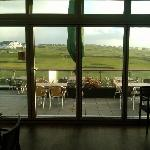 view out onto the sun terrace and golf course