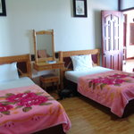 Twin-share room, lovely pink blankets!