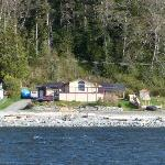 Boating past the lodge in April