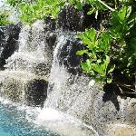 Lava rock waterfall which flows into the pool just behind the house