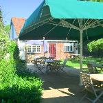  our courtyard with large heated parasol