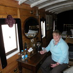  Inside the railway carriage.