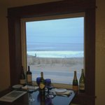Our romantic window with red wine and the view