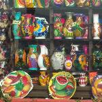 Shops with colorful dishes