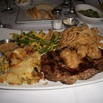 Ribeye steak with fried oysters and Bleu Cheese Bread Pudding MMMM!