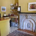 Kitchenette with fabulous marble hearth