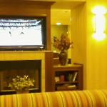 Flat Screen TV in lobby breakfast area