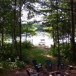looking out to the lake from the porch