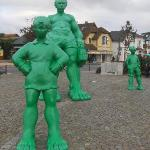 Giant green sculptures infront of train station of Westerland