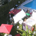 Hotel Pool invaded by a film crew
