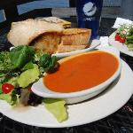 tomato basil soup and grilled cheese sandwich