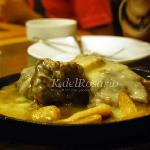Sizzling pochero with fries and sauce