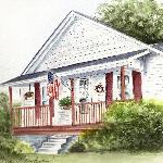 Watercolor of Wolf Creek Farm by Sue Hawkins, Biloxi, MS