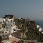 View from the terrace of the neighborhood and Oia Castle