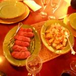 Wild boar sausage and potatoes