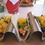  My lunch three shrimp/steak tacos. Yum!