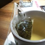 My delicious green tea at Moxies