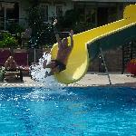 the slide at the pool great fun