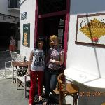  friendly waitstaff girls at Espresso Coffe Shop in Parikia, Paros