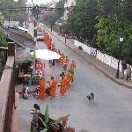 View from balcony with morning monks