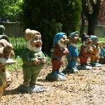 Snow white and her dwarfs in the garden