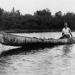 Young Franklin in a canoe made by Passamaquoddy Indians