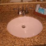Bathroom sink--spotless with great toiletries!