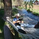 Grandson lying in the hammock at Long Horn Ranch and Stable