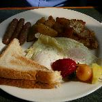 Eggs, homefries, toast & sausage at Pelican Grille