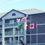 front of the hotel; notice the flags