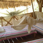 Open air accomodations with view to the lake Peten Itza, near Tikal